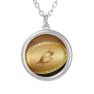 Bitcoin 2 silverpläterat halsband