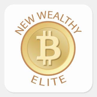 Bitcoin - ny förmögen elit fyrkantigt klistermärke