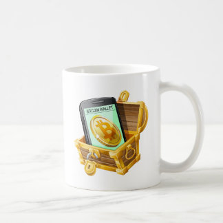 Bitcoin plånbok i piratbröstkorgmugg kaffemugg