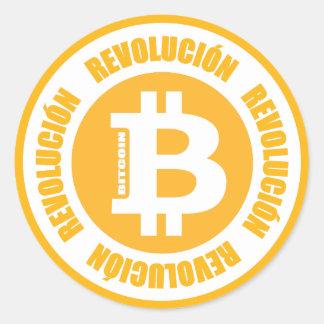 Bitcoin revolution (den spanska versionen) runt klistermärke
