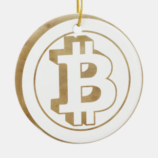 bitcoin rund julgransprydnad i keramik