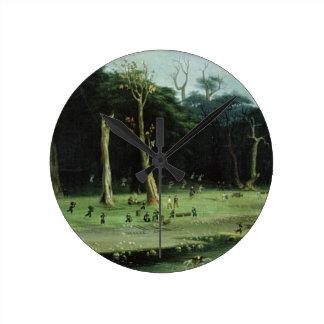 Bits grenar för soldater vid en flod (olja på canv rund klocka