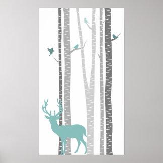Björkträd med hjort