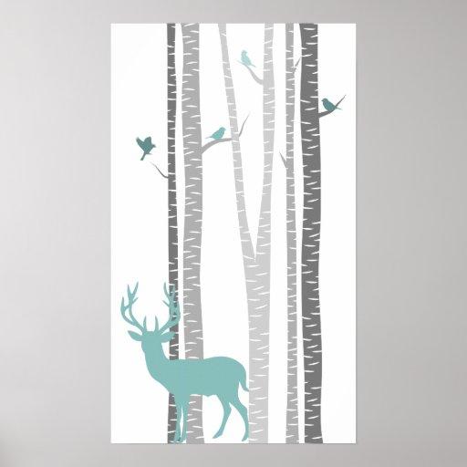 Björkträd med hjort affisch