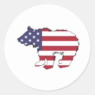 """Björn """"amerikanska flaggan """", runt klistermärke"""