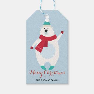 Björn för jul för julgåvamärkre | polar presentetikett