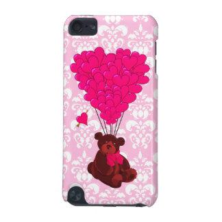 Björn- & hjärtaballonger på rosa damast iPod touch 5G fodral