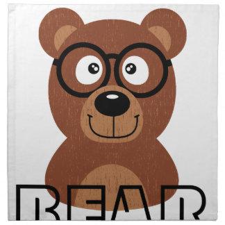 Björn med exponeringsglas tygservett