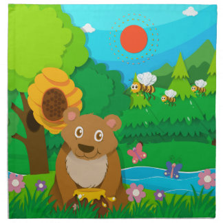 Björn och bin i skogen tygservett