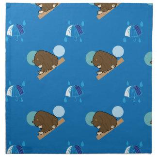 björn- och paraplymönster tygservett