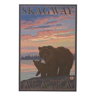 Björn och unge - Skagway, Alaska Trätavla