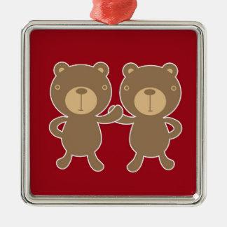 Björn på vanlig preppy röd bakgrund julgransprydnad metall