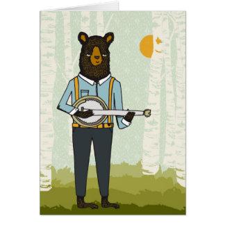 Björn som leker banjoen hälsningskort