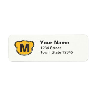 Björnhuvud initialt M Returadress Etikett