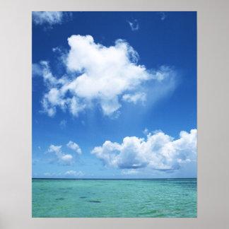 Blå himmel och havet poster