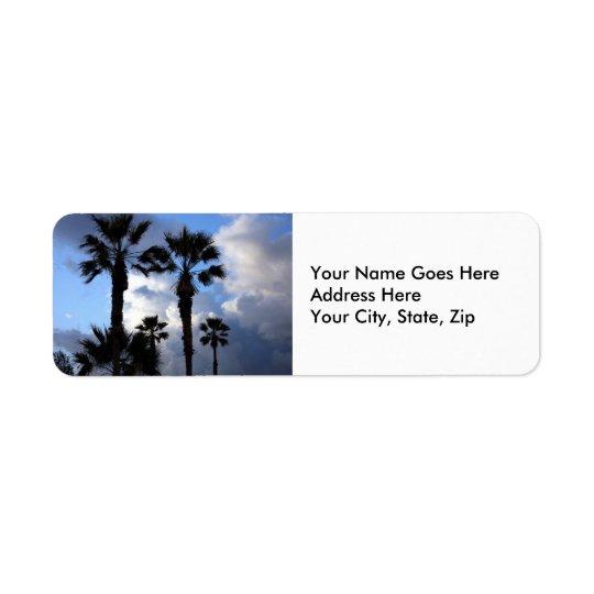 Blå himmel och palmträd returadress etikett