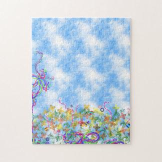 Blå himmel- och rosett bandpussel pussel