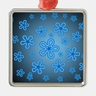 Blåa blommor julgransprydnad metall