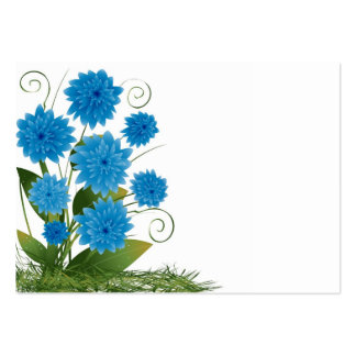 Blåa blommor på en vitbakgrund set av breda visitkort