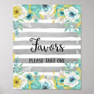 Blåa blommor som gifta sig affischtrycket poster
