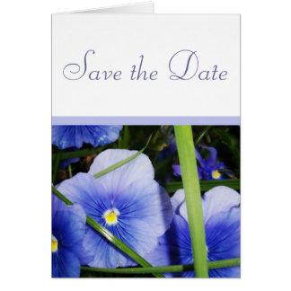 Blåa blommor sparar datera OBS kort
