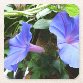 Blåa blommor underlägg papper kvadrat