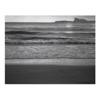 Black and white seaside landscape vykort