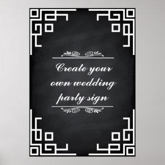 Blackboarden virvlar runt vitgränsbröllopsfesten poster