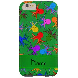 Bläckfisk för regnbåge för personlignamngrönt tough iPhone 6 plus fodral