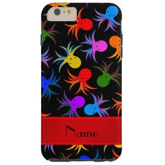 Bläckfisk för regnbåge för personlignamnsvart tough iPhone 6 plus fodral