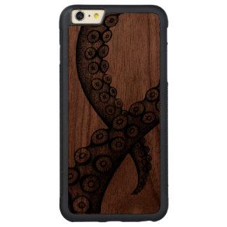 Bläckfiskarmiphone case carved valnöt iPhone 6 plus bumper skal