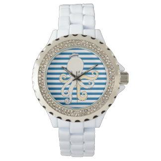 Bläckfiskblått- och vithorisontalrand armbandsur