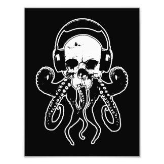 Bläckfiskskalle DJ med gotisk konst för hörlurar Fototryck