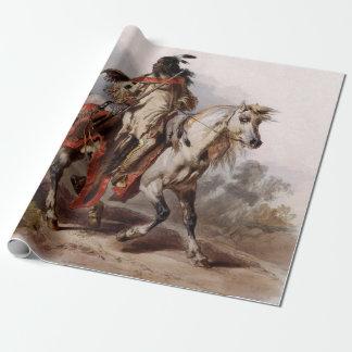 Blackfoot indier på den arabiska hästen som jagas presentpapper
