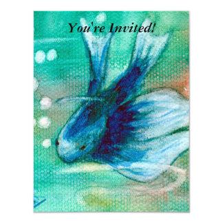 Bläckig Betta för blått fisk 10,8 X 14 Cm Inbjudningskort