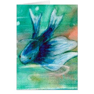 Bläckig Betta för blått fisk Hälsningskort