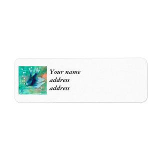 Bläckig Betta för blått fisk Returadress Etikett