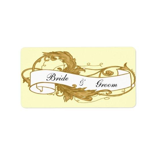 Bladguld- och banerbröllopfavörmärkre adressetikett