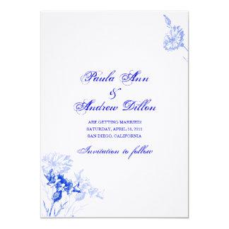 Blåklintblått sparar datera 12,7 x 17,8 cm inbjudningskort