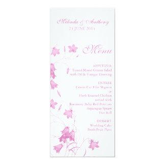 Blåklockor - rosa meny 10,2 x 23,5 cm inbjudningskort