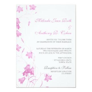 Blåklockor - violett inbjudan för bröllop 5x7