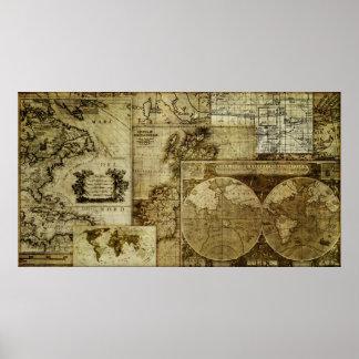 Blandad kartor för gammal värld för vintage poster