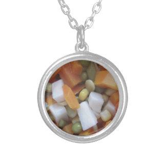 Blandade grönsaker för kärlek silverpläterat halsband