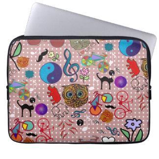blandat flickaktigt seamless mönster laptop fodral