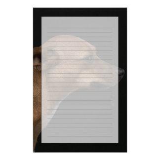 Blandrasen profilerar på svart bakgrund brevpapper