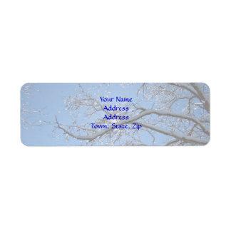 Blänka dolda träd för is och för snö returadress etikett