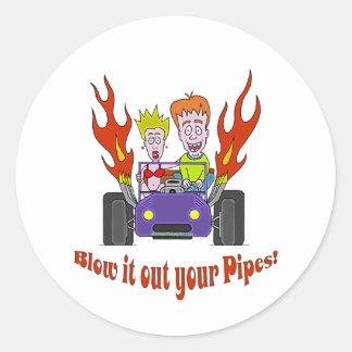 Blåsa det ut ditt rör runt klistermärke