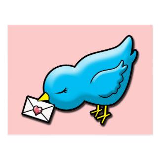 Blåsångare med kärlekbrev vykort