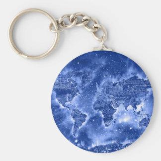 blått 1 för världskartagalax rund nyckelring