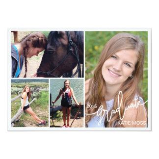 Blått 2015 för foto för studentenmeddelande 4 12,7 x 17,8 cm inbjudningskort